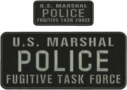 POLICE Us Marshal Embroidery Patches 4x10 and 2x5 hook grey lettering