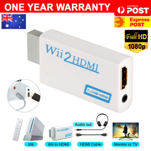 1080p Wii HDMI Adapter Wii to HDMI Converter 3.5mm Adapter Audio HD Video Output