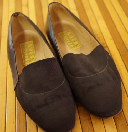 """LUISA BENELLI Flats UK4.5 Brown Leather & Grosgrain Fabric Shoes 9.5"""" Ins."""