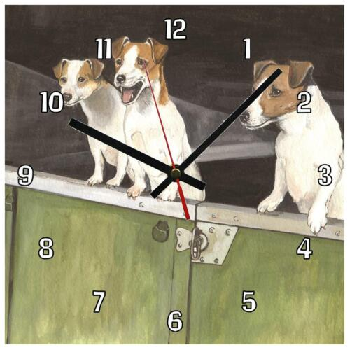 """Jack Russell dogs by Sue Podbery. Stunning handmade 8"""" / 195mm Wall clock"""