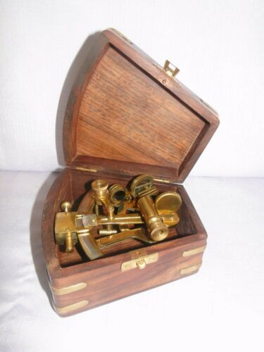 Reproduction Brass Sextant in Rosewood & Brass Box