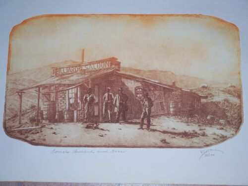"""""""Barrels, Billiards, and Beer""""- Roy Purcell Etching  Signed / Numbered 33/100"""