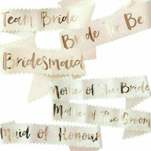 ROSE GOLD HENS SASH Sashes Bride Bridesmaid Maid of Honour the Groom Mother