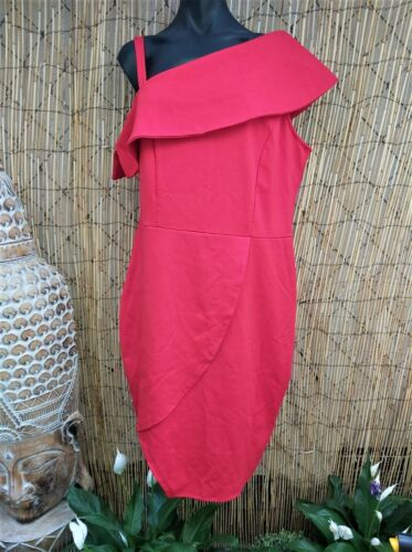 Crossroads Stretchy Bright Red Evening Dress Knee Length One Shoulder Size 20