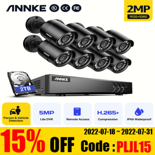 ANNKE 8CH CCTV Security 1080P 3000TVL Camera System 5MP DVR HD Home Outdoor 2TB