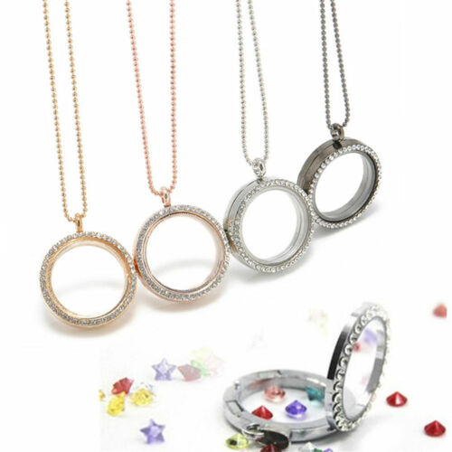 HQ Memory Floating Charm Crystal Glass Round Locket Pendant Photo Necklace