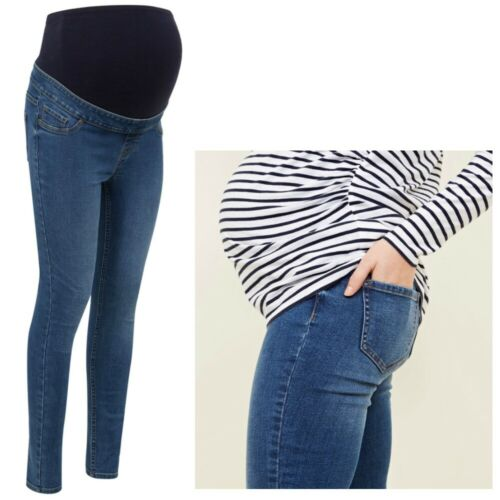 Maternity New Look Over Bump Skinny Jeggings Blue Sizes 8 - 16 CURRENT LINE