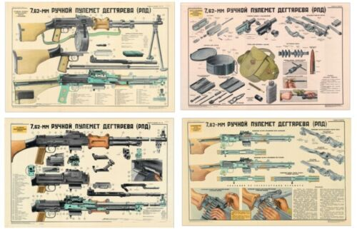 4 Poster Set Of RPD On One Large Poster Soviet Russian WW2 Man Cave Take a LQQK Other Militaria - 135