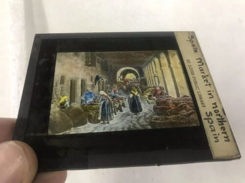 Magic Lantern Colored Glass Slide Market in Northern Spain Early 1900's