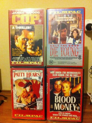 Blood Money Patty Hearst Only the Good Die Young Cop 4 Filmpac VHS Action HTF