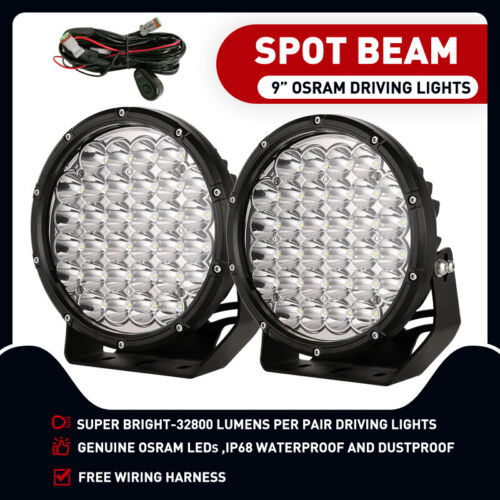 9 inch 99999W ROUND LED SPOT Driving Lights OSRAM Off Road Spotlights Foglight  <br/> Free Wiring Harness! 3yrs warranty! 1Lux at 1386M