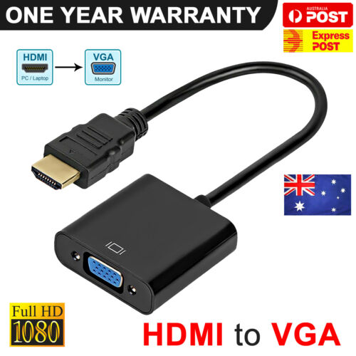 HDMI Male to VGA Female 1080p Adapter Video Cable Converter Chipset Built-in