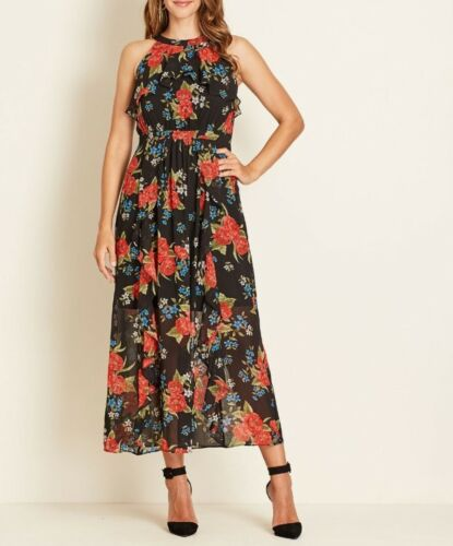 Crossroads Sleeveless Front Frill Black & Red Floral Maxi Dress Size 20