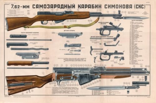 *Color POSTER Of Soviet Russian SKS 45 Carbine Simonov Cold War manual  BUY NOW!Paper Items, Manuals - 104025