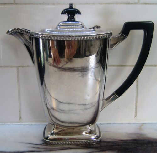 Art Deco Hecworth Reproduction Old Sheffield Silver Plate Coffee Pot