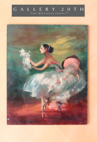 RARE! BURNETT NY OIL BALLERINA PAINTING! PARIS MID CENTURY CAT PERSIAN 50'S ORIG