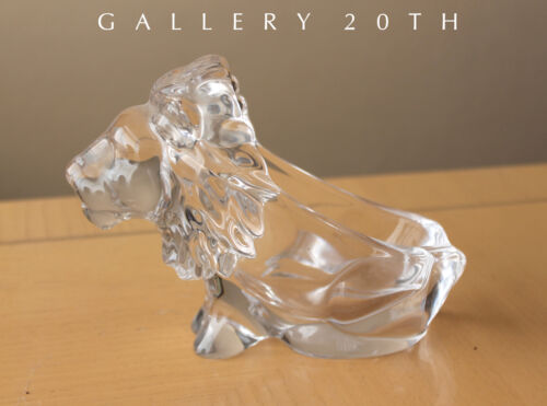 MAGNIFICENT FRENCH LION SCULPTURE CRYSTAL MODERN ART! LEO CAT FELINE MID CENTURY