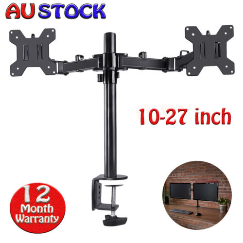 "Full Motion Dual VESA Monitor Desk Mount Double Arm Joint Screens upto 11""- 27"""