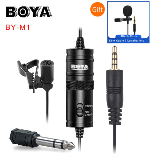 BOYA BY-M1 Lavalier Microphone For Mobile Phone DSLR Camera Camcorder PC Black <br/> ✔️AU STOCK✔️Genuine BOYA✔️Fast Delivery✔️Free Postage✔️