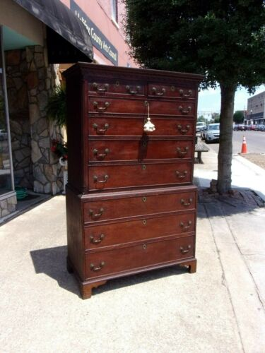 Grand Oak English Chippendale Chest on Chest With Bracket Feet 18thc
