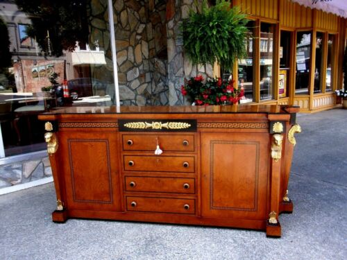 Outstanding Egyptian Style Mahogany & Walnut Sideboard 20th Century