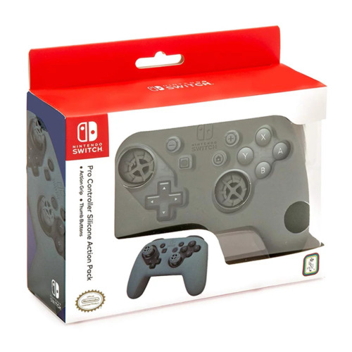 Nintendo Switch Pro Controller Action Grip and Thumb Grips Grey NEW