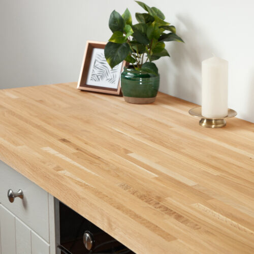 Solid Oak Kitchen Wood Worktops 2M 3M 4M & Breakfast Bars, Solid Wooden Worktop <br/> Free 2man Next Day Delivery When Ordered Before 12 Noon