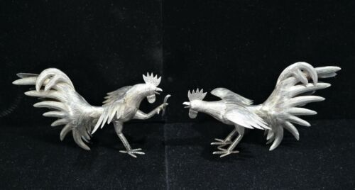 Peruvian Sterling Silver Pair of Hand Engraved Fighting Roosters Mid-20th C.