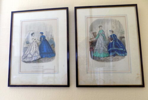 Pair:Authentic  Antique French Etching La Mode Illustree 1866 Fashion Plate Orig