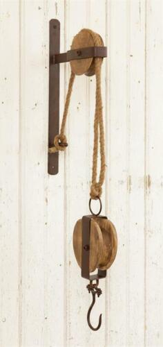 New Primitive Antique Style Rustic Round PULLEY WALL HOOK Plant Lantern Hanger