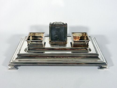 Antique Edwardian 1905 Sterling Silver Large Presentation Inkwell Desk Set Dixon