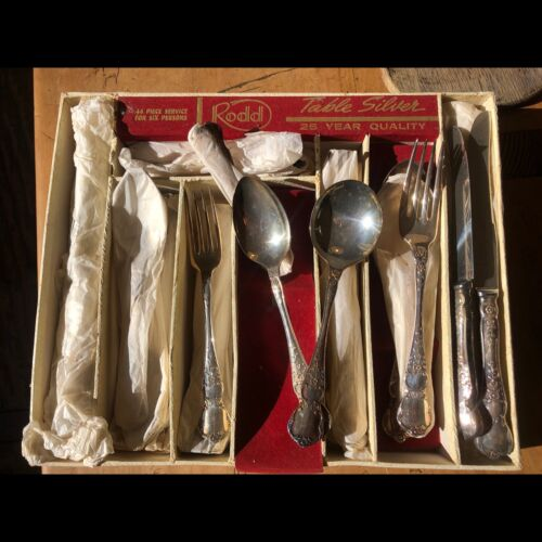 Vintage Rodd 44 piece silver cutlery set for 6 people. New never been used.