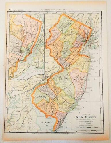 Antique Original 1891 Map of New Jersey Matthews Northrup Railroad Map