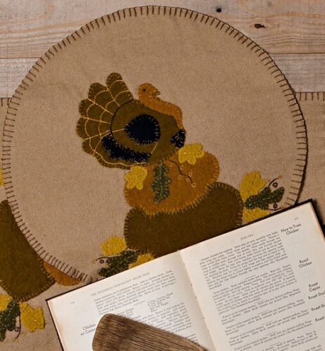 New Primitive Country FALL TURKEY PUMPKIN STITCHED CANDLE MAT Doily 15""
