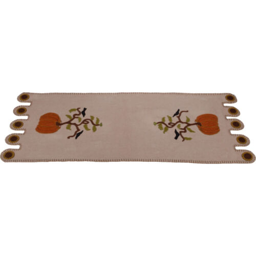 """New Primitive Fall PUMPKIN CROW PENNY STITCHED TABLE RUNNER Wool Felt 36"""""""