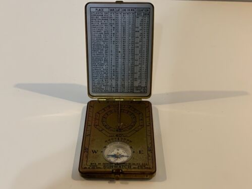 """Antique Compass & Sundial """"Sunwatch"""" by Outdoor Supply Co. New York USA 1920"""