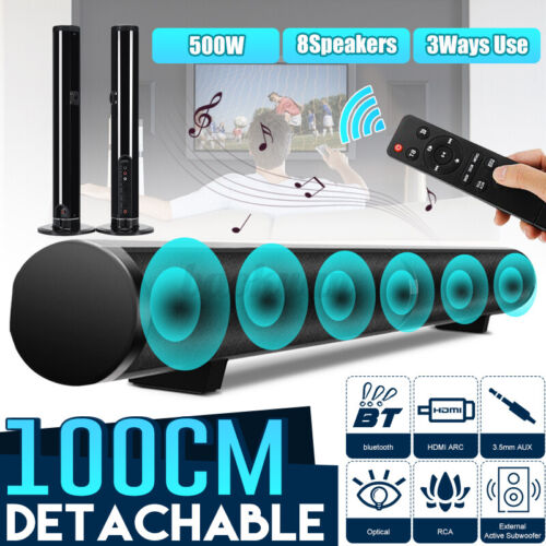 "39"" 50W bluetooth Soundbar Home TV Speaker Sound Bar Wireless Detachable AU Plug"