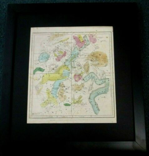 ASTRONOMY ANTIQUE CELESTIAL MAP / CHART CONSTELLATIONS & ZODIAC