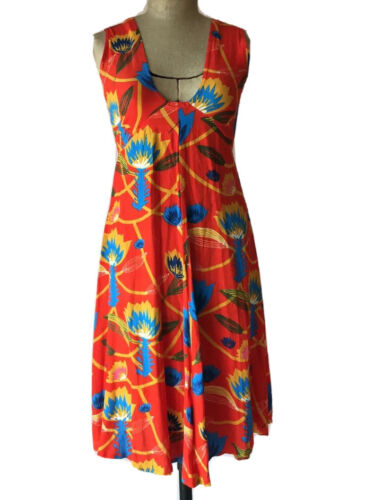 State Of Georgia / 6-8 / Red Floral Viscose Long Dress Sleeveless Designer