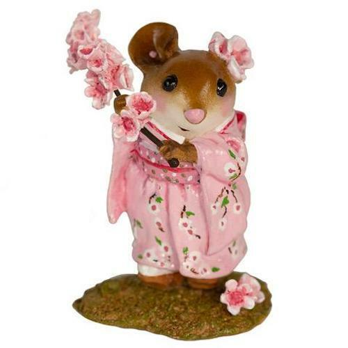 Wee Forest Folk CHERRY BLOSSOM GIRL, WFF# M-459a, Pink Japanese Mouse