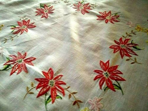 "Lovely Christmas Red Poinsettias Vintage Hand Embroidered Tablecloth 34+"" X 35+"""