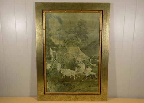 The Tribute Horse Framed by Franklin print Chinese T'ang Emperor faux bamboo