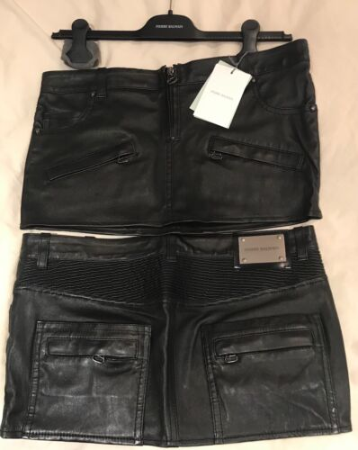 STUNNING NEW WITH TAGS GENUINE PIERRE BALMAIN BLACK LEATHER MINI SKIRT SIZE 38