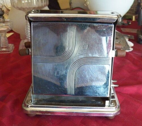 ANTIQUE TOASTER, ELECTRIC UNIVERSAL, 2 SLICE MANUAL TOASTER & WOOD KNOBS