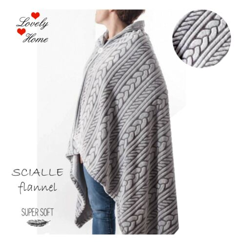 SCIALLE COPERTA DONNA PLAID IN PILE LOVELY HOME FLANNEL