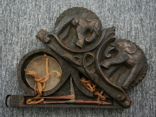 BALANCE SCALE in Carved Oak ELEPHANTS Case - EARLY Opium Scale