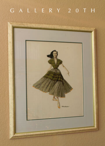 RARE! MID CENTURY WATERCOLOR FASHION ART! PAINTING 1950S COUTURE MADEMOISELLE