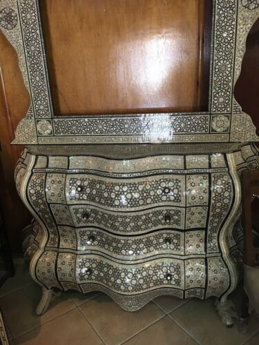 Antique Egyptian Sideboard, Inlaid Mother of Pearl with Wall Mirror Frame