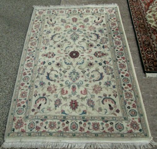 BARGAIN PRICED VINTAGE HAND WOVEN WOOL ORIENTAL RUG 4.1 x 6.2 CLEANED & READY