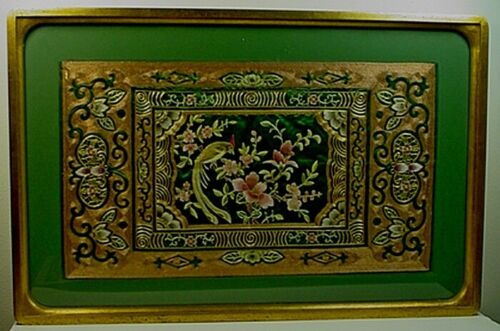 LARGE VINTAGE CHINESE GOLD & SILVER THREAD SILK EMBROIDERY 'BIRD & FLOWER' PANEL